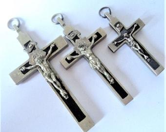 3x Catholic Silver & Wood Crucifix... c.1930s... Pendant Lot