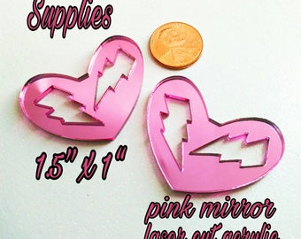 2 Electric Love Hearts-Pink Mirror Heart Cabochon With Lightening Bolt Cut Outs in Laser Cut Acrylic