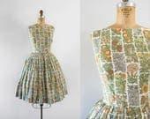1950s Botanist's Dream wildflower day dress / 50s cotton beauty