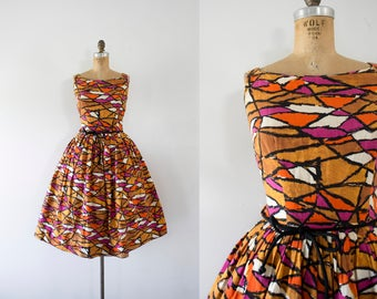 1950s Cote d'Azur french cotton day dress / 50s mosaic beauty