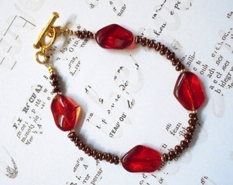 Red and Bronze Bracelet (3151)