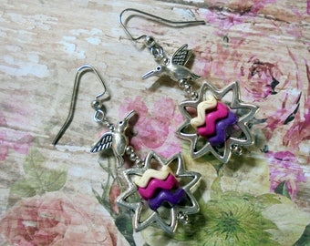 Pink, Purple, White and Silver Hummingbird and Flower Earrings (3558)