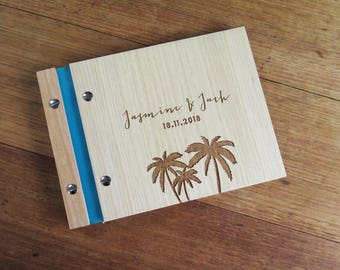 Wedding Guest Book. Wedding Album. Wood Wedding Guestbook. Engagement Gift : palm trees