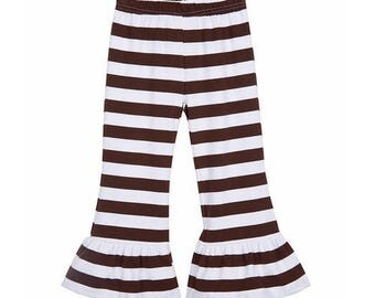 RUFFLE STRIPED PANTS - Red and White Stripe, Green and White Stripe, Brown and White Stripe, Mustard and White Stripe Ruffle Pants