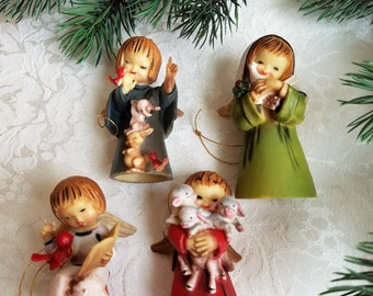 "Vintage Angel Ornaments Set of Four ""Lil Angels"" In Original Box Made in Hong Kong, Mid Century Retro Christmas Decorations"