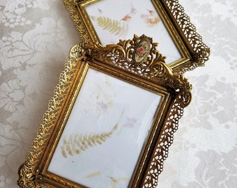 Vintage Ornate Gold Filigree Metal Picture Frames Small Set of Two With Convex Bubble Glass & Botanical Rose Cameos, Wall or Tabletop