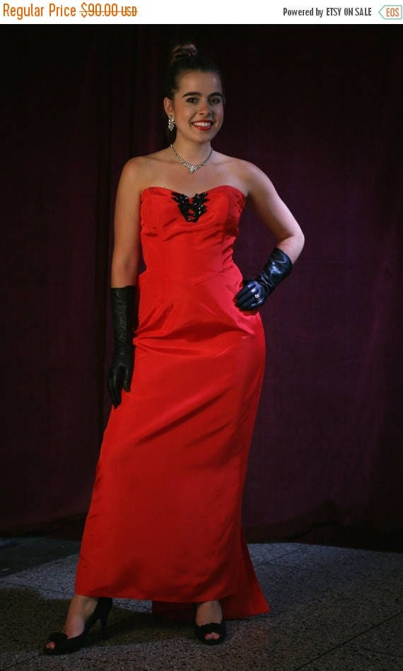 """MaySale Vintage 80s Gown / 50s Style Prom, Red Bombshell Gown: Marilyn Monore """"Diamonds Dress"""" by Jessica McClintock"""