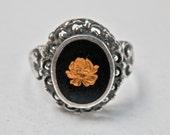Black Gold Ring Art Nouveau Revival Sterling Silver Setting Black Enamel Gold Gilt Flower Size 7.5 Ring Resin Vintage Jewelry 925