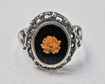 Black Gold Ring Art Nouveau Revival Sterling Silver Setting Black Enamel Gold Gilt Flower Size 7.5 Ring Resin Vintage Jewelry 925