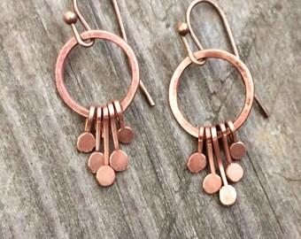 Copper earrings, copper jewelry, minimalist earrings, boho earrings, copper boho jewelry, small earrings