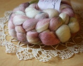 """Hand Dyed Roving / White Moss Mist Grey Pale Mauve / """"Ghost"""" / Corriedale Wool Spinning Fiber 3.05 oz / NEW"""
