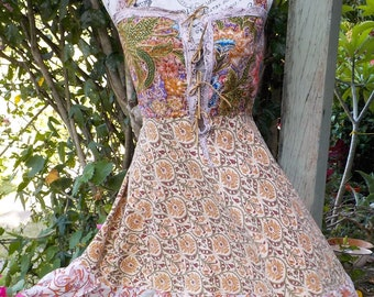 bohemian batik and Indian cotton dress, hippy summer, s / m