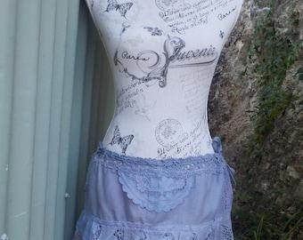 "dusky blues mini skirt - hippy - alternative - feral - festival - up to 38""waist / hip - small / medium"