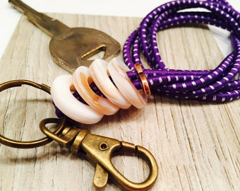 ID lanyard Stretchy Purple Bungee Cord  Earth tone Mother of Pearl Focals Co-Worker gift Teacher Nurse Lfe-Guard Functional Work Accessory