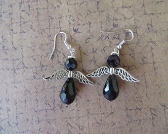 Black Drop Crystal Angel Earrings
