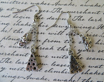 Mouse And Cheese Dangling Charm Earrings