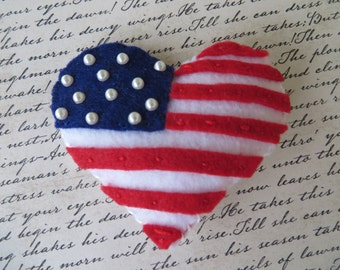 Hand Sewn Felt United States Of America Flag Hair Clip Or Pin