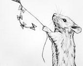 Original Pencil Illustration - 56 Mouse flying a Kite