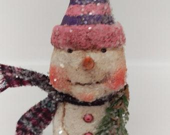 Paper Mache Snowman - Folk Art Snowman - Whimsical Snowman - Snowman Sculpture