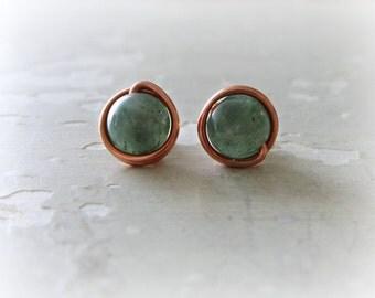 Copper Post Earrings, Aventurine Stud Earrings, Green Post Earrings, Wire Wrap Earrings, Green Studs, Aventurine Posts, Natural Stone Studs