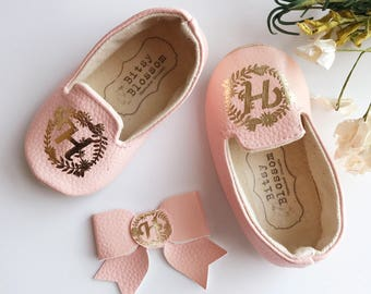 Monogrammed Baby Shoes, Customized Baby Shoes, Baptism Baby Shoes, Christening Baby Shoes, Faux Leather Baby Shoes, Soft Sole Shoes-Babette