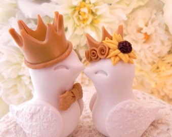 King and Queen Love Birds Wedding Cake Topper, with Sunflower and Gold Crowns, Bride and Groom Keepsake - Fully Customizable