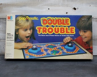 1987 Milton Bradley Double Trouble Board Game, Pop O Matic, Complete