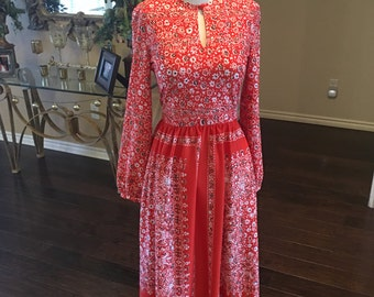 Vintage 60s Anjac dress / 1960s Red White Dress / Floral Dress / Size 4 6