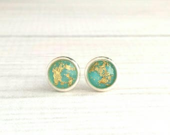 Blue Foil Earrings - teal turquoise aqua gold leaf - small little round dome everyday glam - silver bezel / post - simple trend sparkle posh