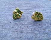 Gold Mardi Gras Happy and Sad Drama Mask Bead Earrings - Post or Clip on