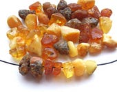 40pcs - Natural Baltic amber beads, raw, light yellow, color mix, nuggets, free form  6-8 mm at widest part (#43)