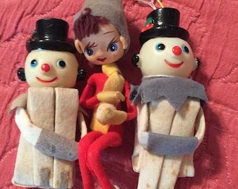 Vintahe knee huggers snowmen and girl