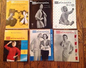 Vintage 1950's Spinnerin Knitting Magazine Lot Instructions Patterns