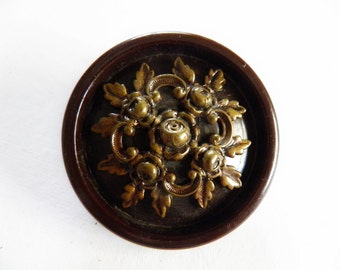 Bakelite Button Chocolate Brown with OME