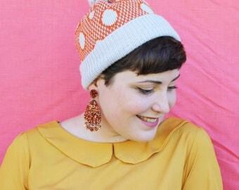 Star Finch Beanie - Grey/Orange - Handmade - Australian Wool