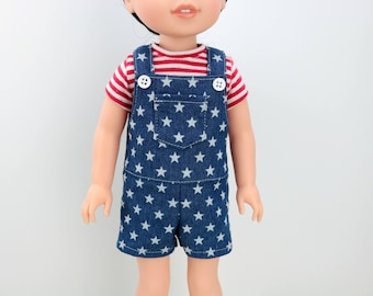 """14.5 """" Doll Shortalls - Patriotic AG Wellie Doll Clothes - 4th of July Wishers Overalls - 14 inch For Hearts Doll Clothes- Wisher - Wish"""