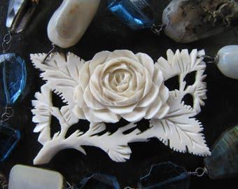 A Bone Rose & Gemstones