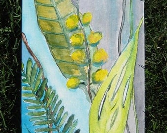 """LEAVES painting, blue, green, grey nature  painting - 8""""x24"""" yellow blue green by devikasart"""