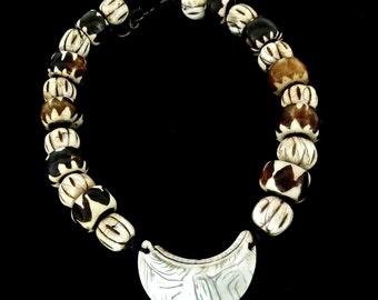 C2857E Antiqjue Indonesian Conus Shell, African Kenyan Batik Bead Necklace