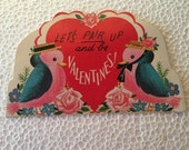 Vintage Valentine Love Birds  Sweet 1960's  or Earlier Retro