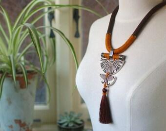StayGoldMaryRose - Stylish vintage stoneware 'Marbury' statement neck piece on dark cocoa rope.