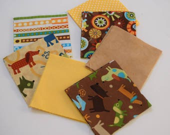 Creatures and Critters Prewashed 5 inch Quilt Block Fabric Squares