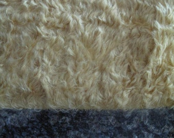"1/4 yard - 18"" x 27""- Medium Density Mohair with Curly Finish - 3/4"" pile HONEY GOLD color cheswickcompany"