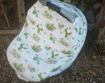 Baby Car Seat Canopy - Stretchy Car Seat Cover - Nursing Poncho - Cactus Succulent Baby Cover - Baby Shower Gift - Multi Purpose Baby Cover