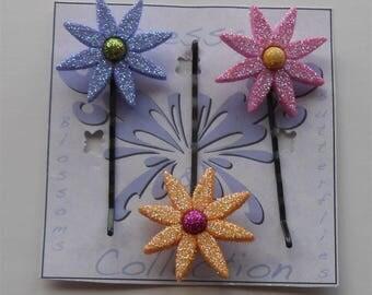 Flower Hair Pins, Bobby Pins, Glitter Bobby Pin, Colorful Hair Flower Star Flower Hair Pin, Floral Bobby Pins Hair Flower Petal Bobby Pins