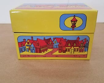 Vintage Metal Recipe Box with House Village Design
