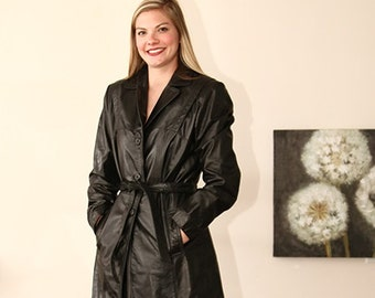 vintage 70s classic black leather trench spy coat