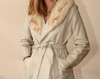 fox fur collar dove grey leather vintage 60s wrap jacket