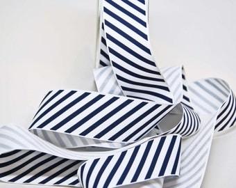 Varsity Grosgrain Stripe Ribbon -- 1 1/2 Inch -- Navy White Stripe