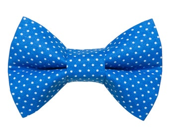 "Cat Bow Tie - ""The Caviar Dream"" - Blue with White Polka Dots"